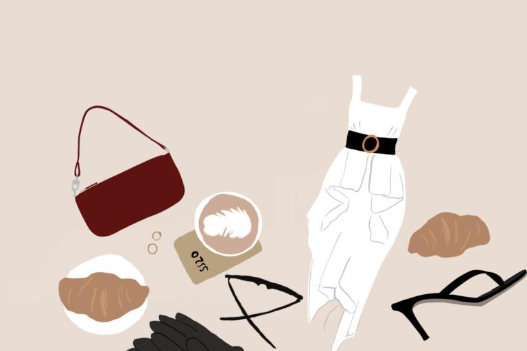 Digitální ilustrace dámského oblečení, kabelky, bot na podpatku, kávy a croissantu