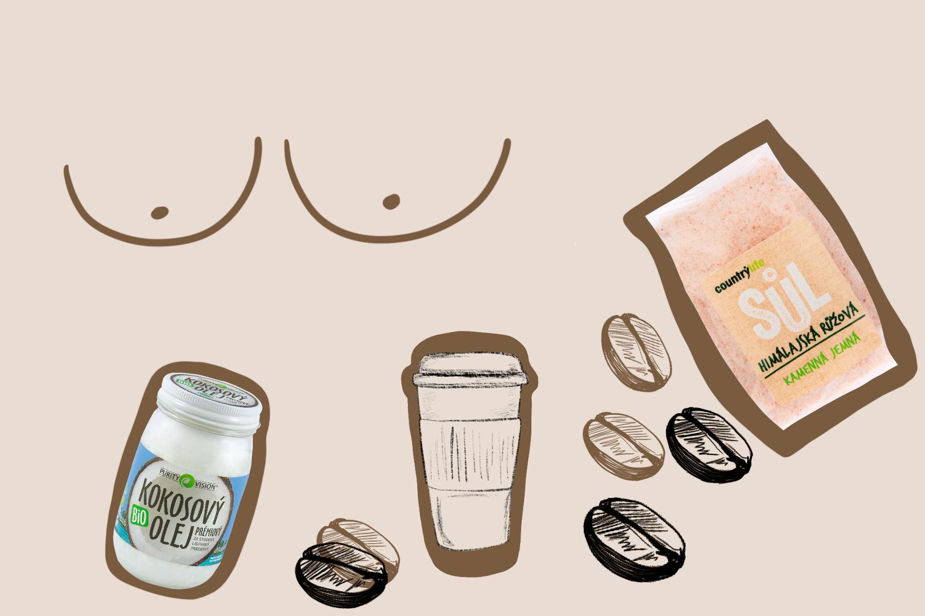 domácí kosmetické produkty diy ilustrace kávový peeling