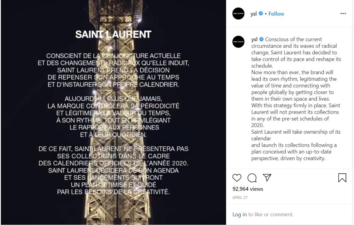 yves saint laurent instagram