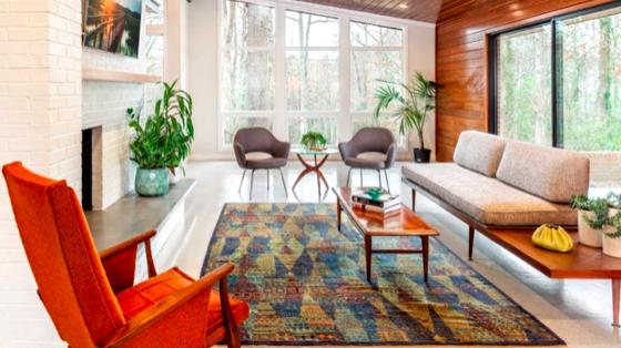 Moderní eklektický obývací pokoj dekor